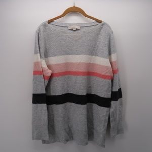 LOFT Striped Knit Pullover Sweater Size XL
